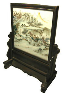 Antique Chinese Painted Porcelain Landscape With Carved Wood Stand