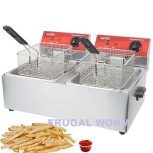 Avantco F102 20 Lb Dual Tank Electric Countertop Deep Fryer 120v 3500w