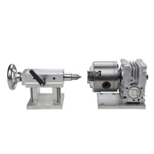 Cnc Engraving Router Rotary A 4th Axis Gearbox 4 Jaw 80mm Chuck Manual Tailstock
