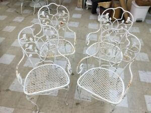 Set 4 Salterini Mid Century Modern Wrought Iron Patio Chairs Vine Heavy