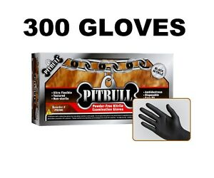 Pitbull Black Nitrile Gloves 6 Mil Powder Free Pack Of 300 M L Xl Xxl