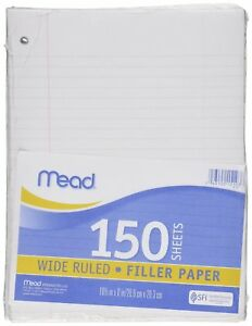 12 Pack Of Mead Filler Paper 150 count Wide Rule 15103 To 1800 Sheets