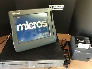 Micros Workstation 4 Lx System Unit 400714 001 W Stand Printer And Cash Drawer