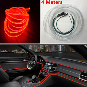 4m Optical Fiber Light Car Interior Decorative Lamp Dash Moulding Led Strip Red
