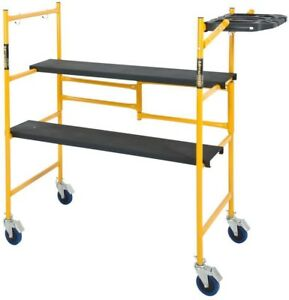 Rolling Scaffold Tool Shelf Work Bench Indoor Folding Ladder Platform 500lb Load