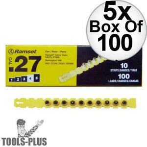 Ramset 4rs27 Box Of 100 4 yellow 27 Cal Strip Loads 5x New