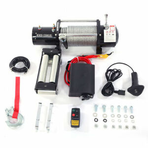 12500 Lbs Electric Winch 12v Towing Truck Trailer Wireless Control Remote 85 Ft