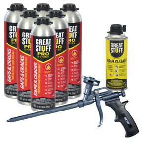 Dow Great Stuff Pro Gaps And Cracks 30 Oz Cans 6 Teflon Pro Foam Gun Cleaner
