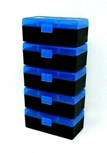 BERRY'S PLASTIC AMMO BOXES (5) BLUE 50 ROUND 223  5.56