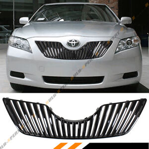 For 2007 2009 Toyota Camry Glossy Blk Sport Vip Vertical Front Hood Grill Grille