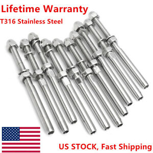 T316 Stainless Steel End Fitting For Cable Railing 3 16 Cable Marine Grade