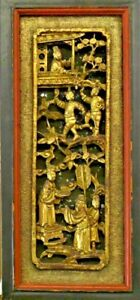 Chinese Temple Gilt Wood Relief Carving Display Symbolic Scene Framed To Hang