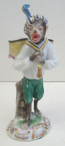 Aelteste Volkstedter German Porcelain Small Monkey Figure Drum New In Box