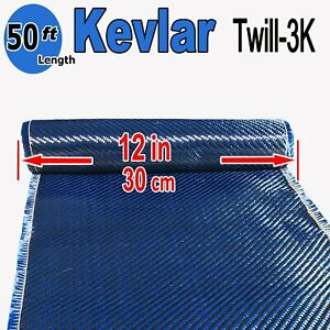 1 Ft X 50 Ft Made With Kevlar carbon Fiber Aramid Fabric 3k 2k 200g Blue