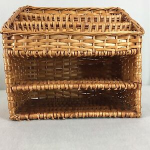Woven Wicker Mail Organizer Letters Stationery Desk Top