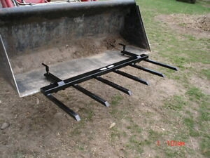 Debris Hay Manure Brush Rake Tractor Bucket Loader Skid
