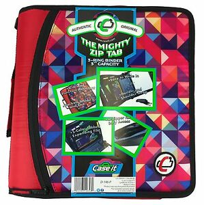 Case it Mighty Zip Tab 3 Zipper Binder Red With Prism Geometric Pattern D 146 p