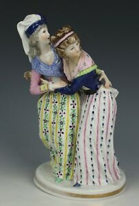 Early 19c Dresden Volkstedt Figurine Two Afraid Ladies Worldwide