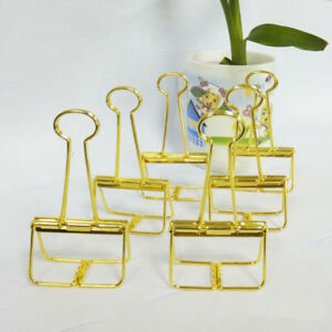 18pcs Office School Stationery Gold Binder Clip 51mm
