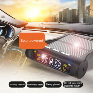Solar Power Tpms Wireless Car Tire Pressure Monitor Alarm System W Lcd Screen