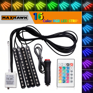 4x 9 Led Rgb 16 Color Interior Car Under Dash Foot Floor Seats Accent Lighting