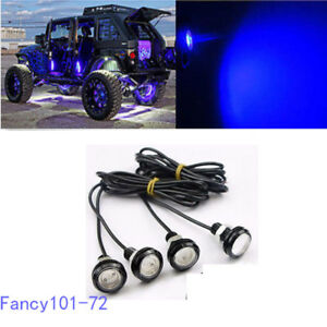 4x Blue Led Rock Light For Jeep Atv Off Road Truck Trail Rig Fender Underbody