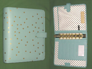 Classic 1 25 Teal Polka Dot Minds Eye Binder Franklin Covey Planner S Leather