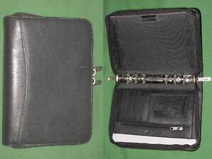 Compact 0 75 Black Italian Leather Bellino Planner Binder Franklin Covey 9616