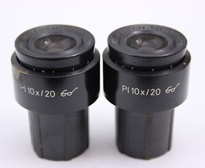Pair Zeiss Pl 10x 20 Glasses Microscope Eyepieces 30mm 444032 Axio Axioline