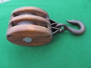 Antique Starline Large Wood Block Pulley Double Iron Wheels 16 Oa Nice