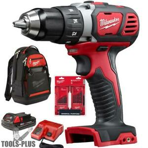 Milwaukee 2606 21bp M18 Compact 1 2 Drill Driver Kit W bit Set And Backpack New