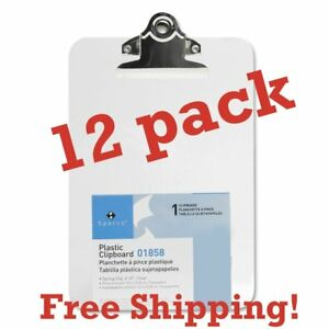 Value Pack Of 12 Mini small Transparent Clipboard 6 X 9 Inches By Sparco clear