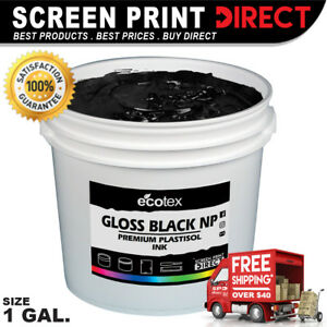 Ecotex Gloss Black Np Premium Plastisol Ink For Screen Printing 1 Gallon