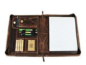Zippered Genuine Leather Business Portfolio Easy To Carry Organizer With Wr