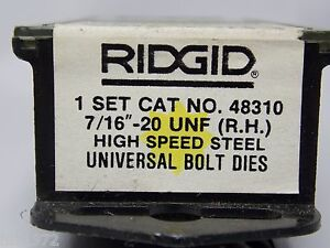 Ridgid 48310 7 16 20 Unf Bolt Threading Dies Rh Hs Universal Heads New Sealed