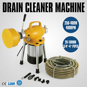 3 4 4 Dia Sectional Pipe Drain Cleaner Machine Eel Snake Sewer Heavy Duty
