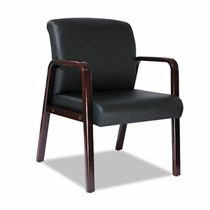 Alera Reception Lounge Series Leather Guest Chair Mahogany black New