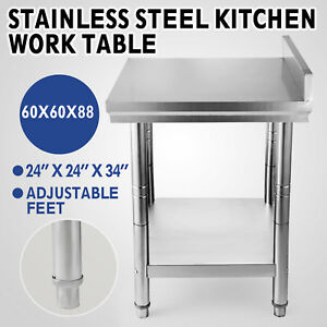 24 x24 Kitchen Work Food Prep Table With Backsplash Stainless Steel Nsf House