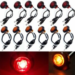 12x Amber Red Round Bullet Clearance Side Marker Truck Trailer Mini Led Lights