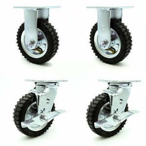 6 Inch Black Pneumatic Wheel Caster Set 2 Swivel With Brakes And 2 Rigid Scc