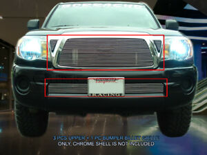 Fits 2005 2010 Toyota Tacoma Polished Billet Grille Front Combo Grill