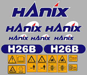 Hanix H26b Digger Complete Decal Sticker Set With Safety Warning Decals