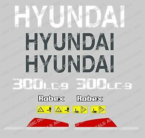 Hyundai 300lc 9 Digger Excavator Decal Sticker Set With Safety Warning Signs