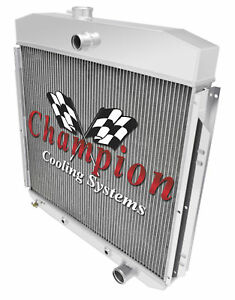 Champion 3 Row Aluminum Radiator For 1957 1960 Ford F 100 Chevy Configuration