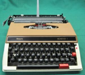 Vintage Sears The Achiever 1 Typewriter With Plastic Case Guaranteed Item