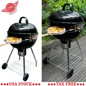 Outdoor Pizza Kettle Grill Patio Bbq Charcoal Barbecue Oven Compact Smoker Baker