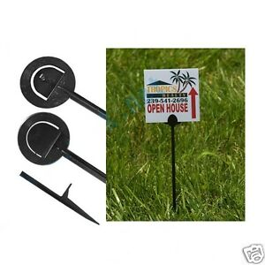 50 16 Reusable Black Plastic Step Stakes For Lawn Pesticide Yard Signs