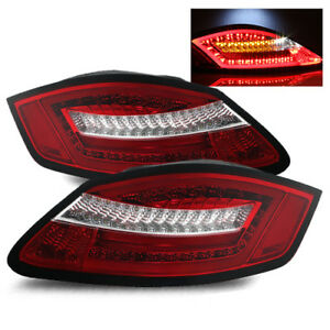 For 05 08 Porsche 987 Boxster Cayman Red Clear Fiber Optic Led Tail Lights Lamps