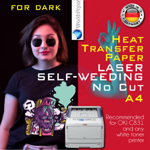 Heat Transfer Paper Laser Self weeding Trim Free Style For Dark A4 50 Sheets