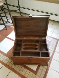 Antique Oak Chest W Brass Handles And Latch